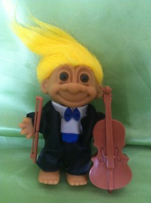 Troll Doll Vintage Russ Musician Cello Cellist Tuxedo Toy Collectable Gr8 Gift