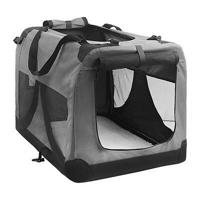 NEW Portable Folding Extra Large Size Soft Pet Dog Travel Crate Cage Kennel Grey