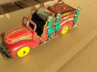Vintage Tin Toy Fire Engine Fire Truck Friction Power Motor Could Be Japan ?