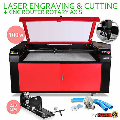 100w Co2 Laser Engraving Cutting Machine Engraver Crafts Artwork W/Rotary Axis