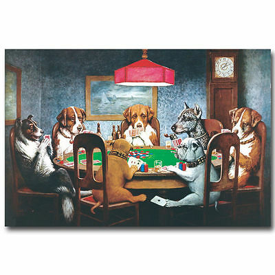 12756 Dogs Playing Poker Funny Art Poster Print Home Wall AU