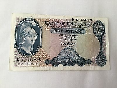 Bank Of England Old Five Pound Note