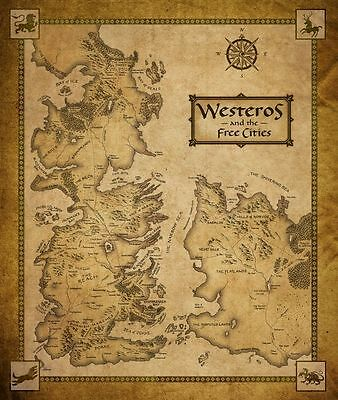 14256 Game Of Thrones Houses Map Westeros TV Show Wall Print POSTER AU