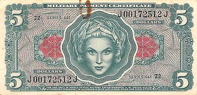 USA / MPC  $5  ND. 1965  Series 641  Run 22  circulated Banknote