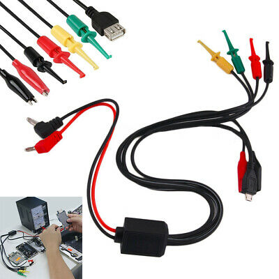 Power Supply Multimeter Test Lead Cable Kit 2 Alligator with Clip Banana Plugs