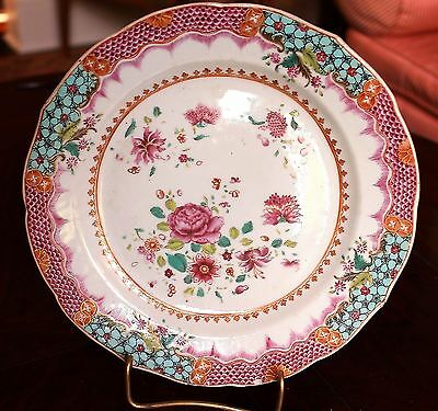 Chinese Export 18th c. Famille Rose Porcelain Plate Decorated with Peonies