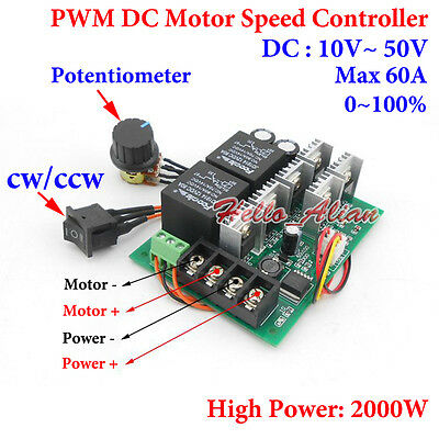 DC 10-50V PWM DC Motor Speed Controller With CW CCW Reversible Switch 60A 2000W