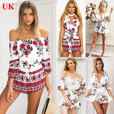 UK Womens Holiday Mini Playsuit Ladies Jumpsuit Summer Beach Dress Size 8-20