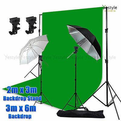 Photo Video Umbrella Mount Bracket Support Stand Kit 3mx6m GREEN Muslin Backdrop