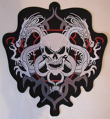 Rare Large Skull With Dragons Motorcycle Biker Embroidered Sew On Badge Patch
