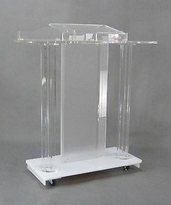 Deluxe Acrylic Plaxiglass Lucite Podium w/ Casters Floor Standing Lectern