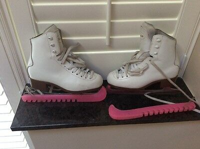 Risport white ice skating boots leather Boxed also protectors