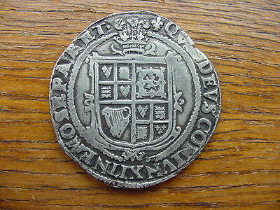 James 1st half crown, 3rd coinage, plume over shield, mm. lis. Rare.++REDUCED++