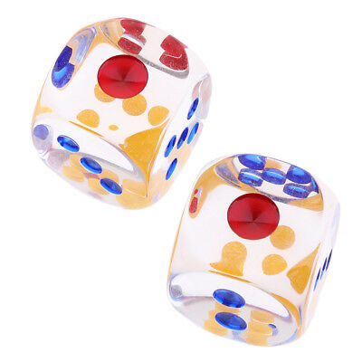 2 pieces 29mm Translucent Dice D6 6-Sided Dice for Board Games Table Games