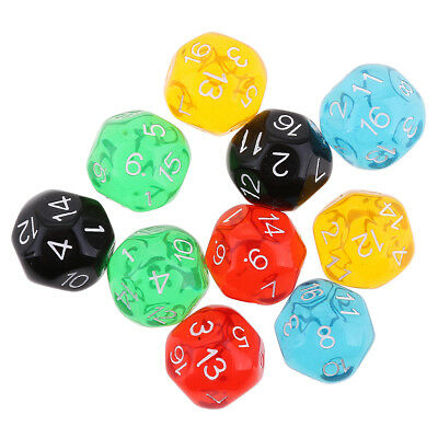 10 pieces Translucent D16 Dice for Dungeons and Dragons Table Games Dice