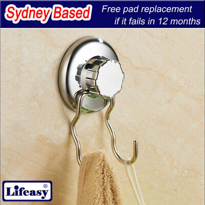 2 X Large 75mm Diam Suction Cup Double Hook Stainless Bathroom Kitchen