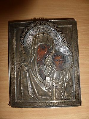 A Russian c.1900 silver fronted icon a/f marked 84 18cm x 14.5 cm Lady of Kazan