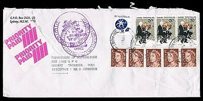 1982 • Priority Paid Cover • Sydney to Hobart • Multiple private perfins