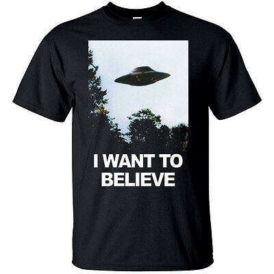 I Want To Believe X-Files Poster T shirt BLACK all size S-5XL
