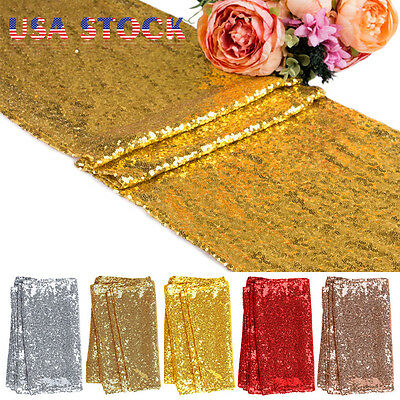 "UK Stock 12""x118"" Sequin Table Runners Sparkle Glitter Wedding Party Decorations"