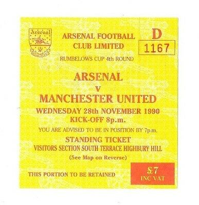 Arsenal v Manchester United, 1990/91 - League Cup 4th Rd Match Ticket.