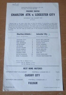 Charlton Athletic v Leicester City, 1976/77 - Friendly Match Programme.