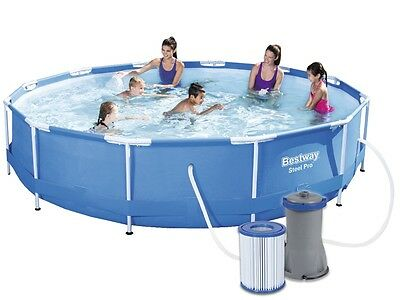 Bestway Swimming Pool 56416 Swimmbad 366x76 Frame Planschbecken + Pumpe #3580