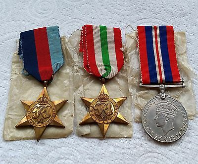 Genuine Group of 3 British WW2 Medals - 1939-1945 Star, Italy Star, War Medal