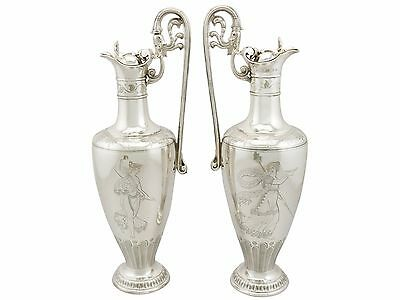Victorian Pair of Sterling Silver Claret Jugs by Elkington & Co - 1860s