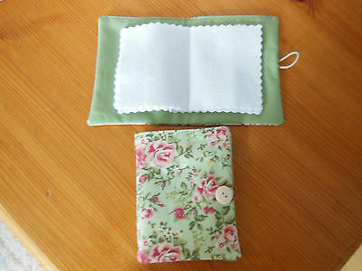 New Sewing Needle Case With Six Felt Leaves Velcro Fastening Green Floral Fabric
