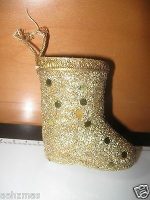 Vintage 3 Dimensional Gold Sparkly Stocking - Plastic Christmas Tree Ornament
