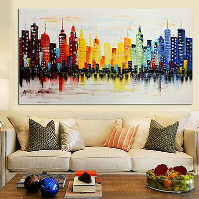 Modern City Canvas Abstract Painting Print Living Room Art Wall Decor No Frame