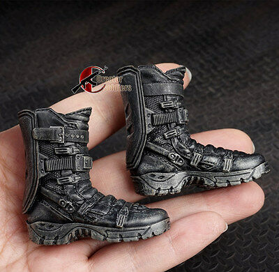 """1/6 Scale Male Solid Boots Action Figure Falcon Combat Shoes Black For 12"""" Doll"""
