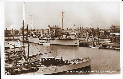 Postcard of H M S Godetia at Lowestoft, Suffolk