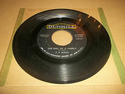 """P.f. Sloan """" The Sins Of A Family """" 7"""" Rare Single Dunhill Excellent 1965"""