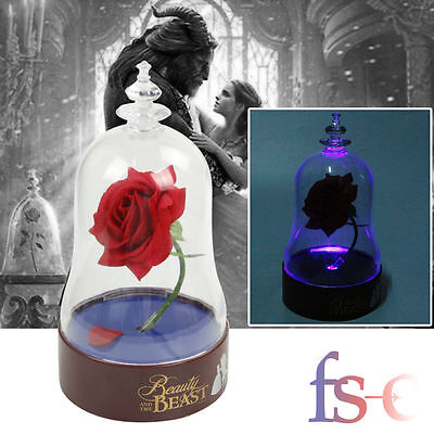 MOVIE STYLE Beauty and the Beast Rose Bell Jar Light Dome LED Lamp Kids Toy Gift