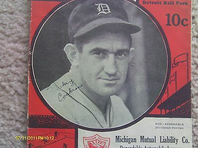 1935 Mickey Cochrane autographed program; 1935 Detroit Tigers; signed; Browns