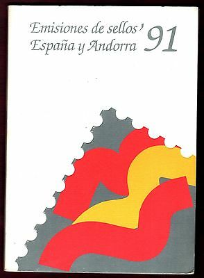 SPAIN STAMPS- Official Year Book, complete pack of stamps + Andorra, 1991 (**)
