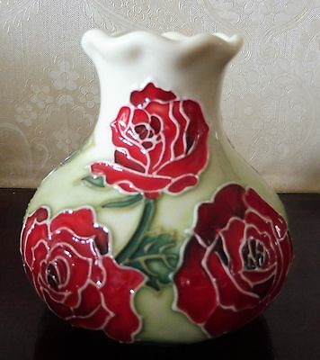 Old Tupton Ware Hand Painted Miniature Vase - Red & Green Floral China
