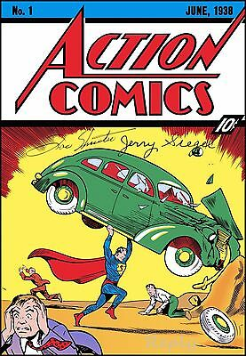 1938 Cover#1 Poster, Magazine Action Comic, with Autograph,Jerry Siegel, Replica