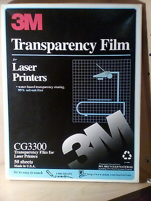 3M Transparency Film CG3300 for Laser Printers 32 Sheets Opened 8 1/2 X 11""