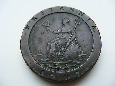 1797 Large Cartwheel Two Pence Coin George III Good Grade
