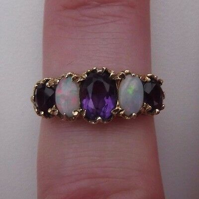 Stunning Vintage 9ct Gold Amethyst And Opal Ring Size N 1/2