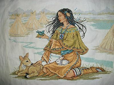 completed cross stitch- Indian Maiden (Joan Elliott design)