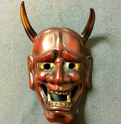 JAPANESE ANTIQUE RED HANNYA MASK DEMON DEVIL LACQUER NOH ONI r377