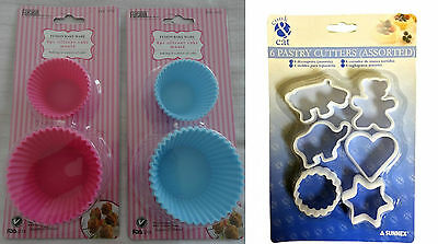 6 Piece Silicone Baking Cupcake Muffin Mould Case/ 6 Piece Plastic Cookie Cutter