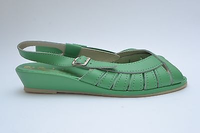 Beautiful Vintage 40s /50s Style Green Leather  Wedge Heeled Slingback Sandals
