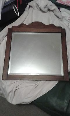 Vintage Old Oak Wall Hall Bedroom Bevel Mirror Shabby Chic Project ?