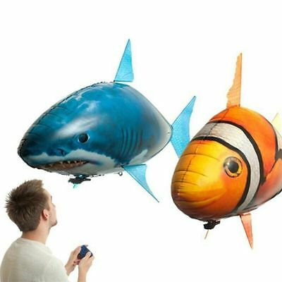 Air Swimmers Remote Control Flying Shark Kids Fun Prank Play Set Toy Fish New