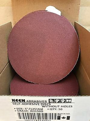 "Box of 50, KEEN #36055, 5"" PSA Paper Sanding Disc No Vac Hole 150 Grit"